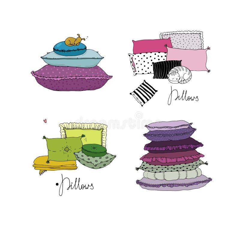 Set z poduszkami Łóżkowa pościel ilustracja wektor