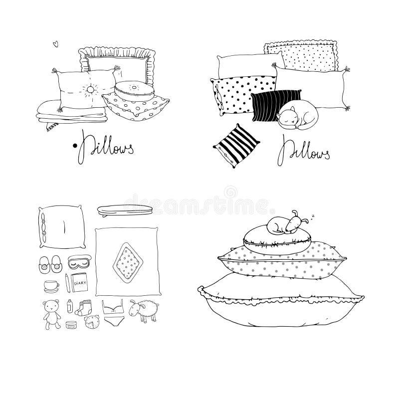 Set z poduszkami Łóżkowa pościel ilustracji