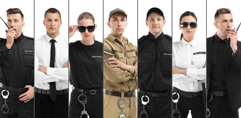 Set z pracownikami ochrony fotografia royalty free