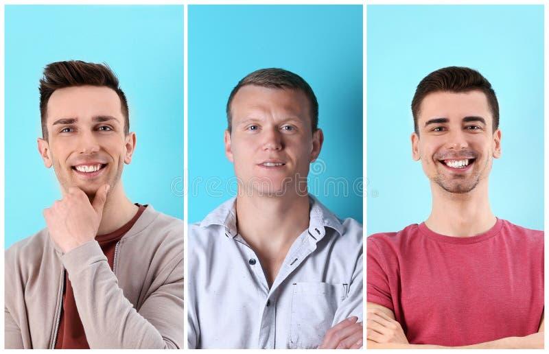 Set z przystojnymi mężczyzna portretami zdjęcie royalty free