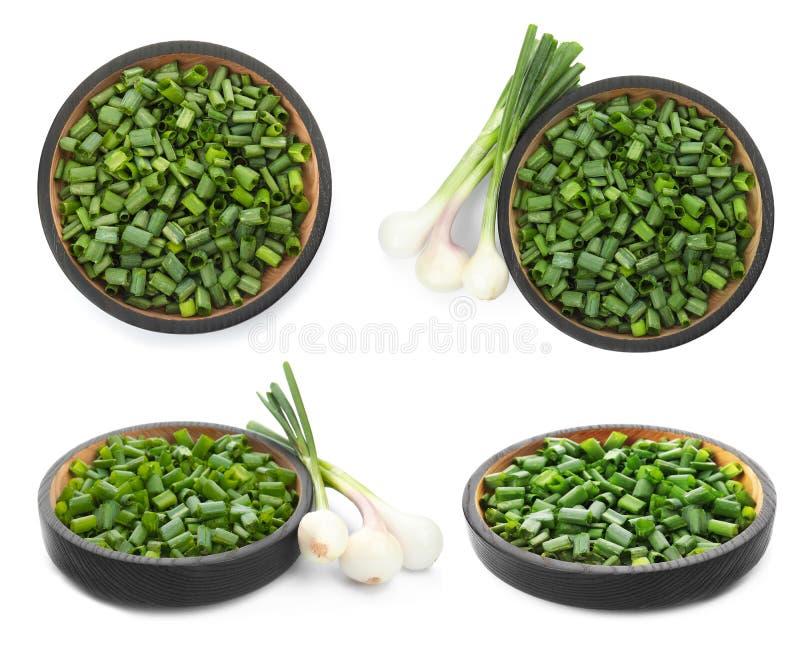 Set z rżniętą zieloną cebulą zdjęcia royalty free