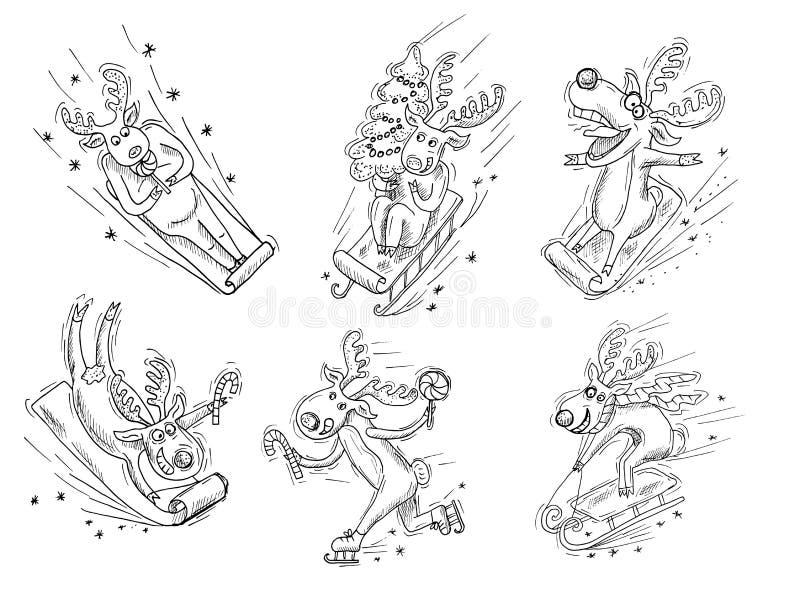 Set z sylwetkami śmieszni deers ilustracja wektor