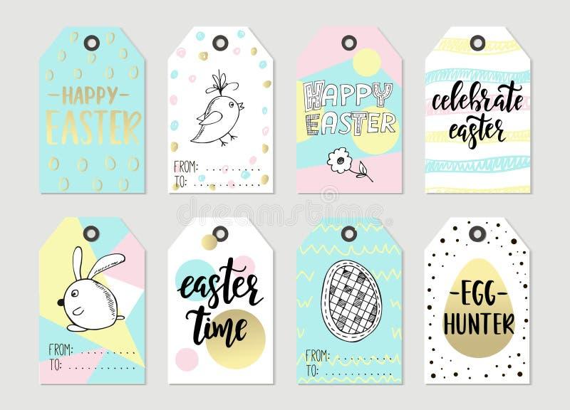 Set z Szczęśliwymi Wielkanocnymi prezent etykietkami i karty z kaligrafią Ręcznie pisany literowanie projekt rysująca elementów r ilustracja wektor
