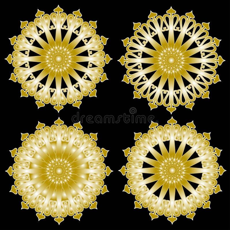 Set z złotymi projektów elementami: słońca lub płatki śniegu ilustracji