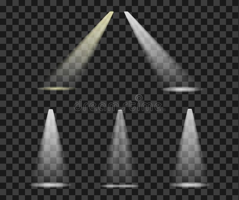 Set zaświeca ligh oświetleniowej sceny jaskrawych olśniewających refelectors ilustracja wektor