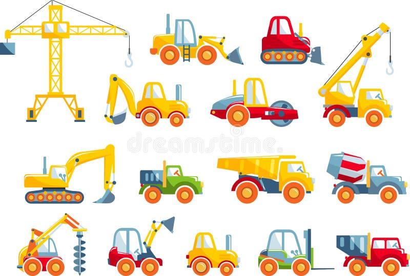 Set zabawki ciężkiej budowy maszyny w mieszkaniu royalty ilustracja