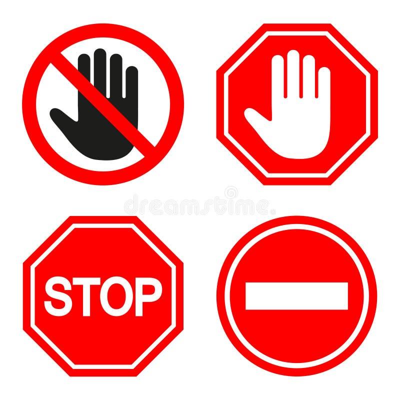 Set zabraniać znaka znaki przerwa na białym tle ilustracja wektor
