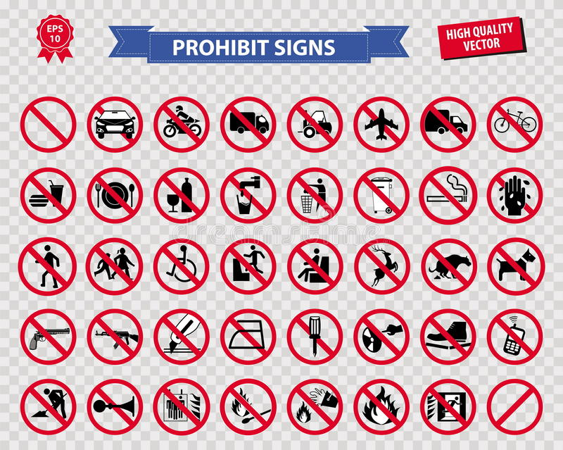 Set zabroniony znak ilustracja wektor