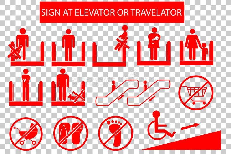 Set Zabroniony znak przy eskalatorem lub Travelator ilustracji