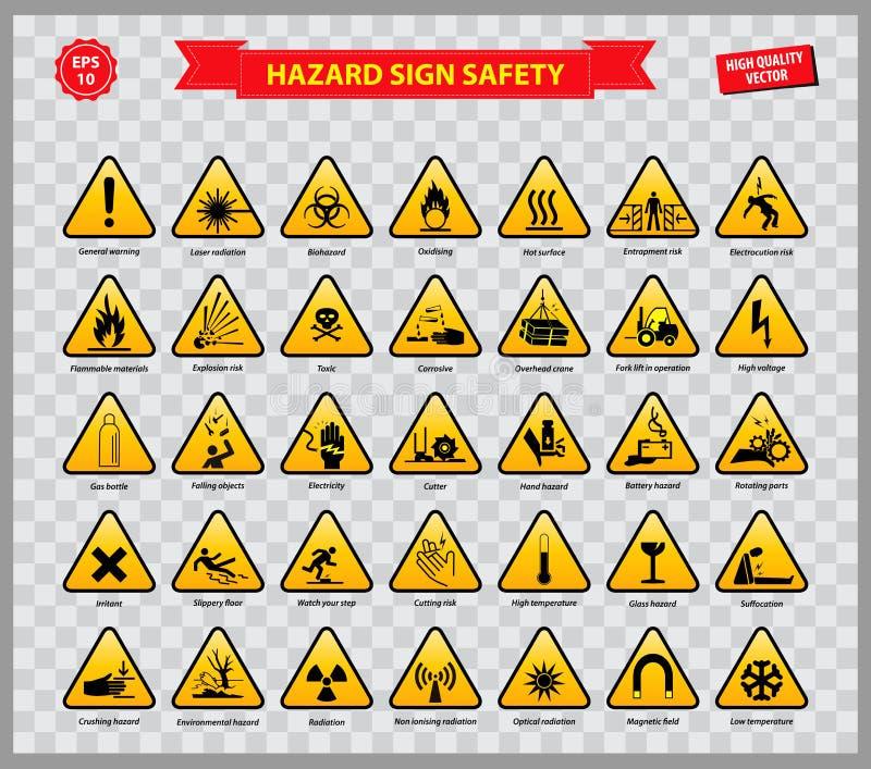 Set zagrożenie znaka bezpieczeństwo royalty ilustracja