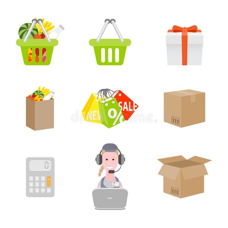 Set zakupy ikony ilustracja wektor