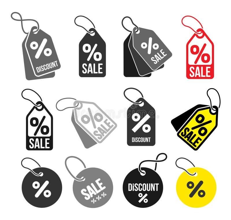 Set zakupy oznacza prostą ikonę Dyskontowy talonu symbol Ilość projekta elementy Specjalnej oferty znak Mieszkanie styl Wektorowy ilustracja wektor
