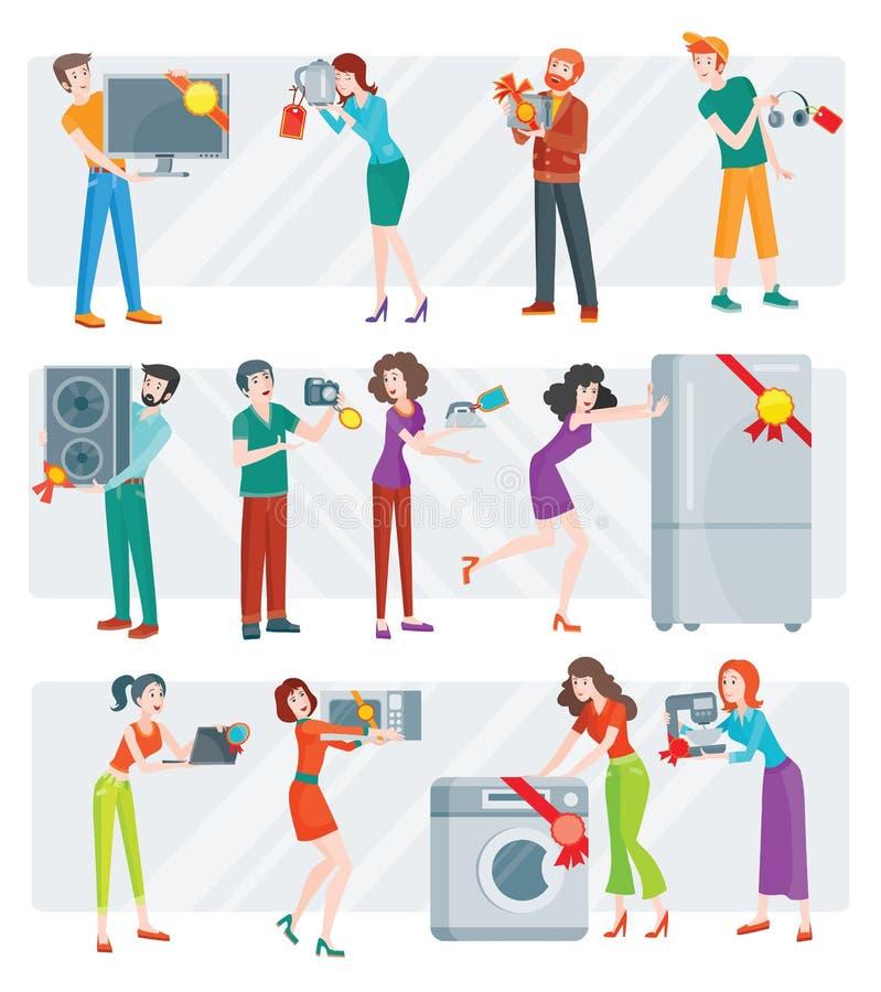 Set Zaludnia na elektronika sklepu sprzedaży wektorze royalty ilustracja