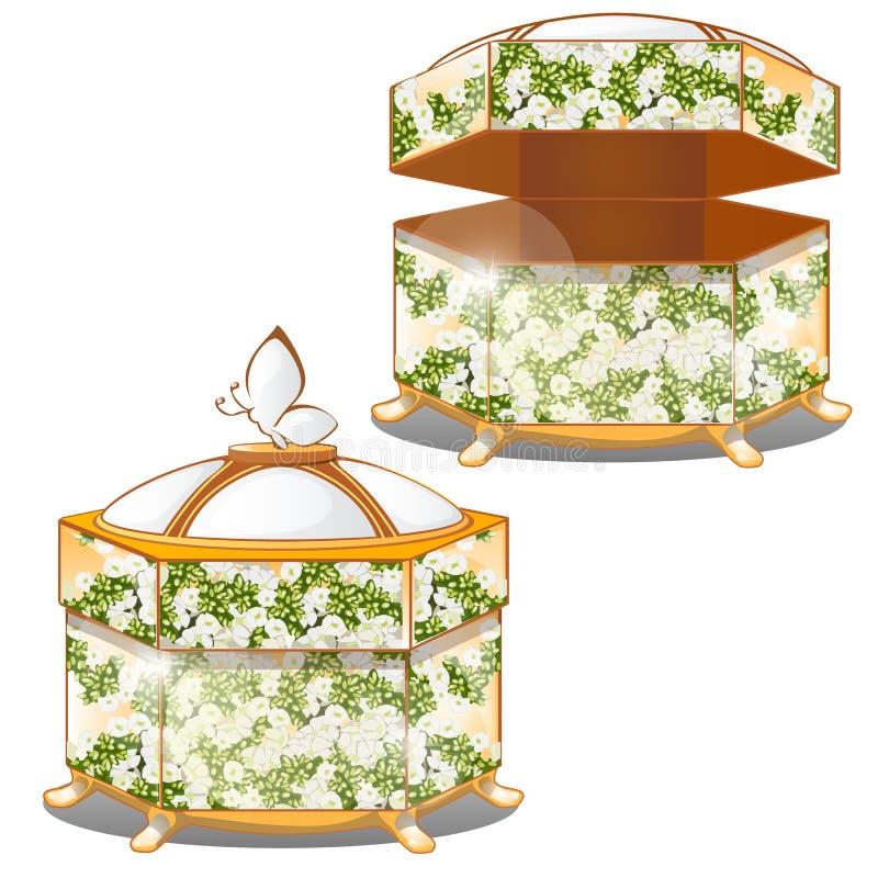 Set zamknięci i rozpieczętowani ozdobni prezentów pudełka z dekla zielonym kolorem z kwiatu ornamentem odizolowywającym na białym royalty ilustracja