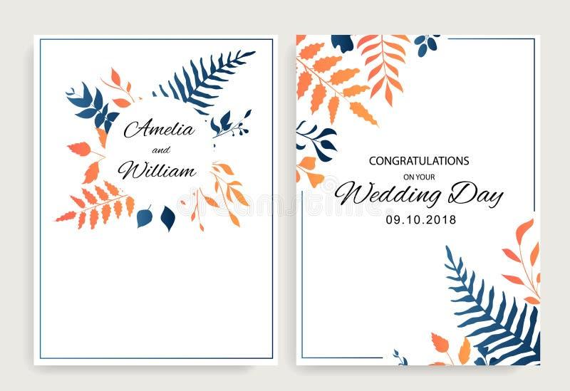 Set zaprasza ślubnego kwiecistego karta projekt z gradientowym wektorowym liścia stylem wektor ilustracji
