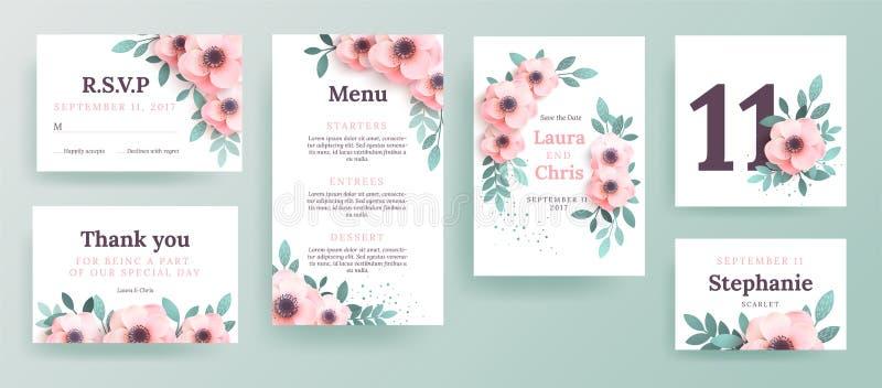 Set zaproszenia dla ślubu z różowymi kwiatami royalty ilustracja