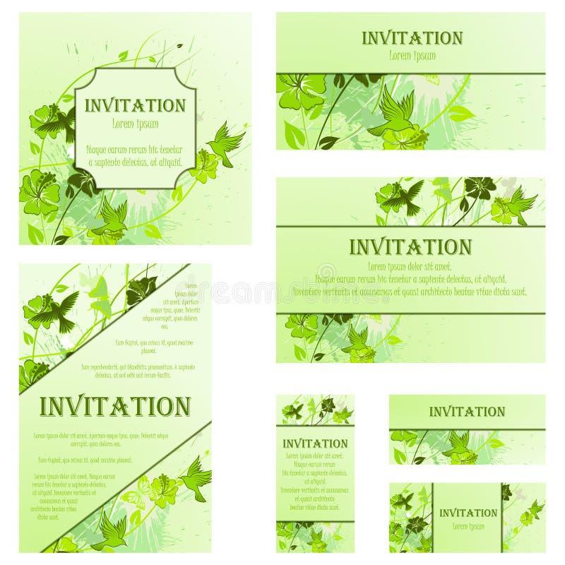 Set zaproszenie karty ilustracji