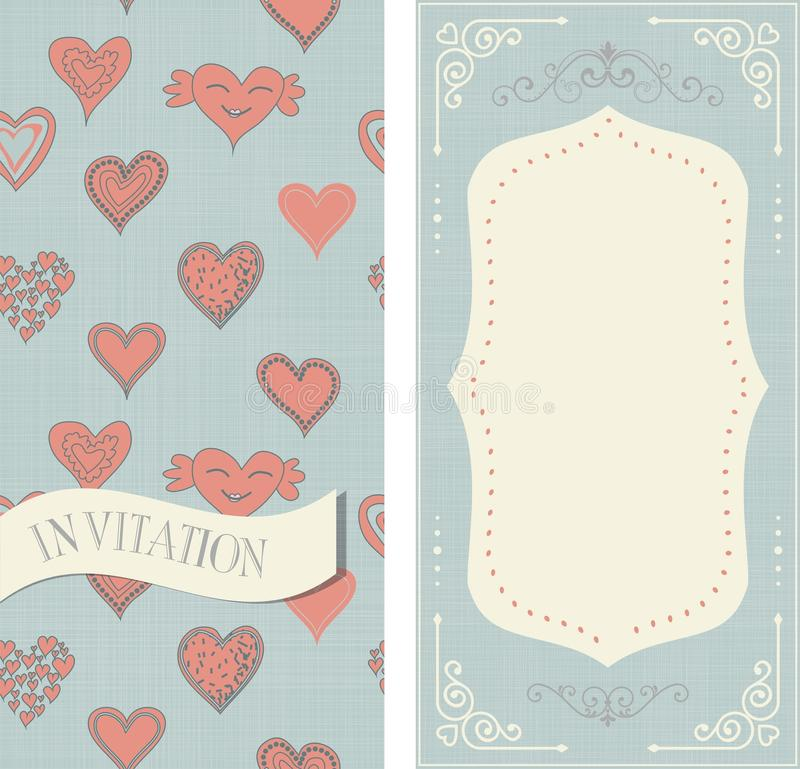 Set zaproszenie karty z doodle sercami ilustracji