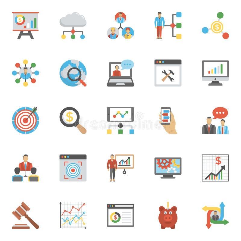 Set zarządzania projektem i analizy mieszkania ikony ilustracji