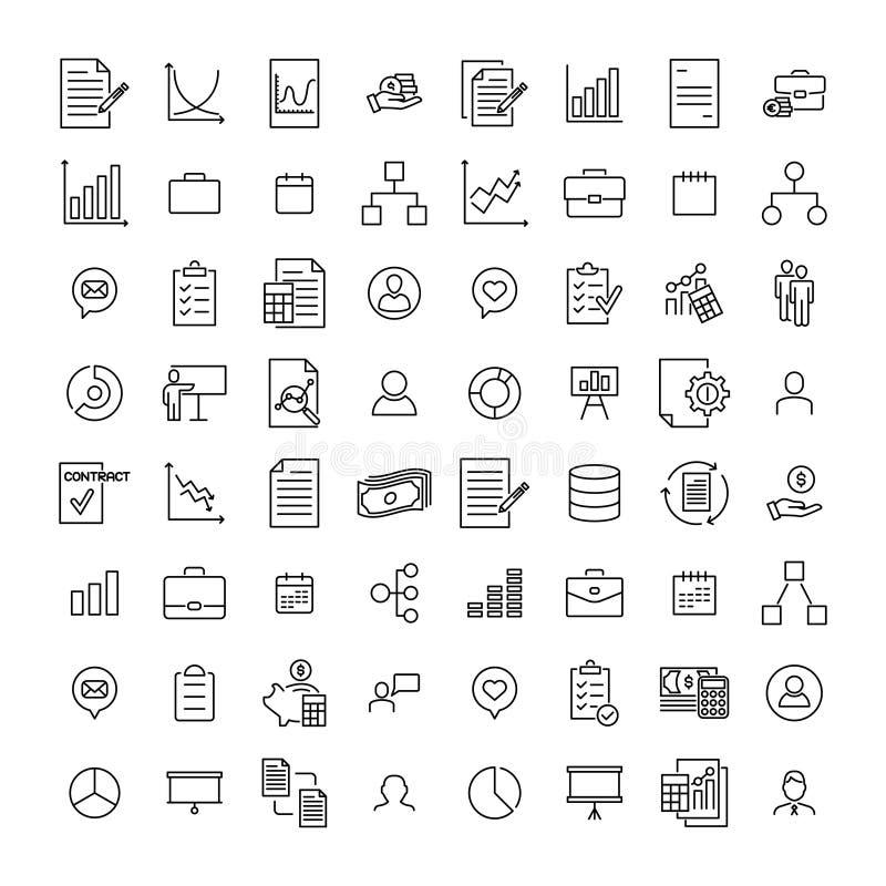Set zarządzanie cienkie kreskowe ikony ilustracji