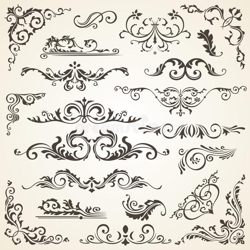 Set zawijasów elementy dla projekta Kaligraficzna strony dekoracja, etykietki, sztandary, antyk i barok ramy kwieciste, ilustracji