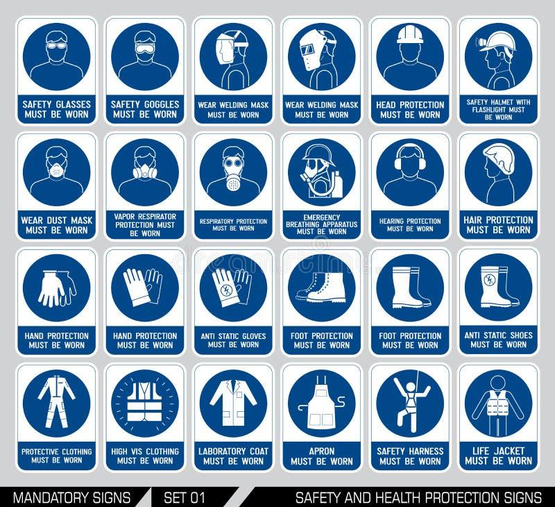 Set zbawczej i zdrowie ochrony znaki ilustracja wektor