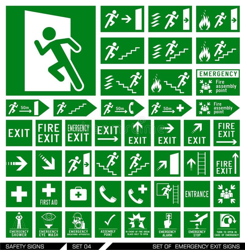 Set zbawczy znaki wyjście znaki ilustracji