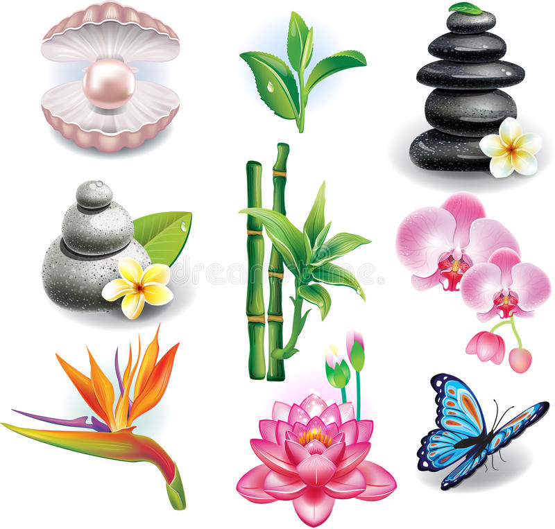 Set ZDROJÓW symbole royalty ilustracja