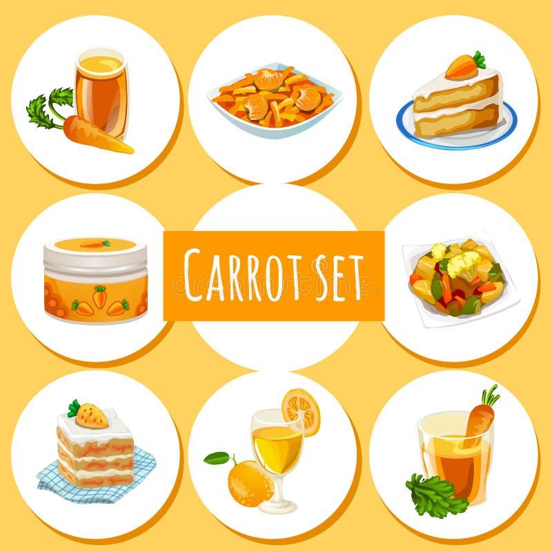 Set zdrowotni organicznie naturalni foods robić marchewki Atrybut zdrowy łasowanie sprawności fizycznej menu Nakreślenie dla waka ilustracji