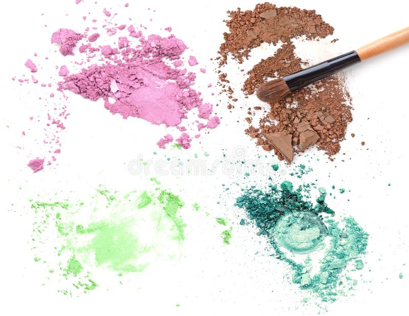 Set zdruzgotany uzupełniał koloru kosmetyka proszek zdjęcie stock
