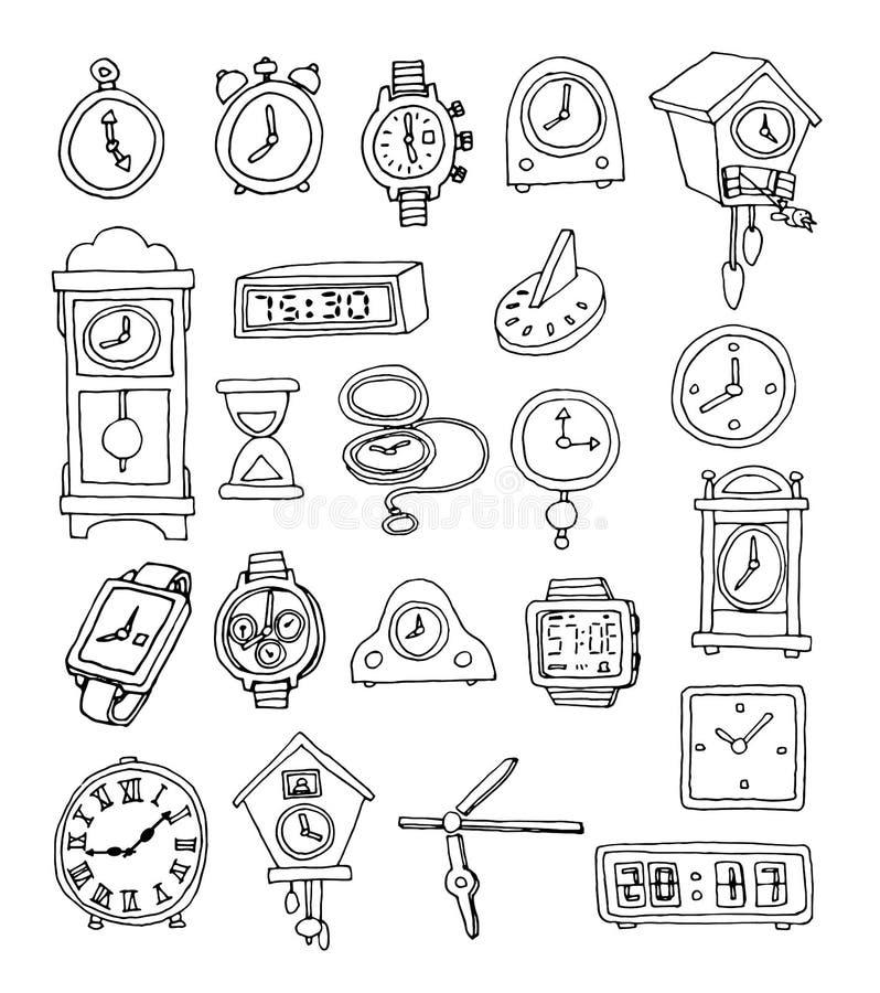 Set zegary i zegarki, ręka rysująca wektorowa ilustracja ilustracji