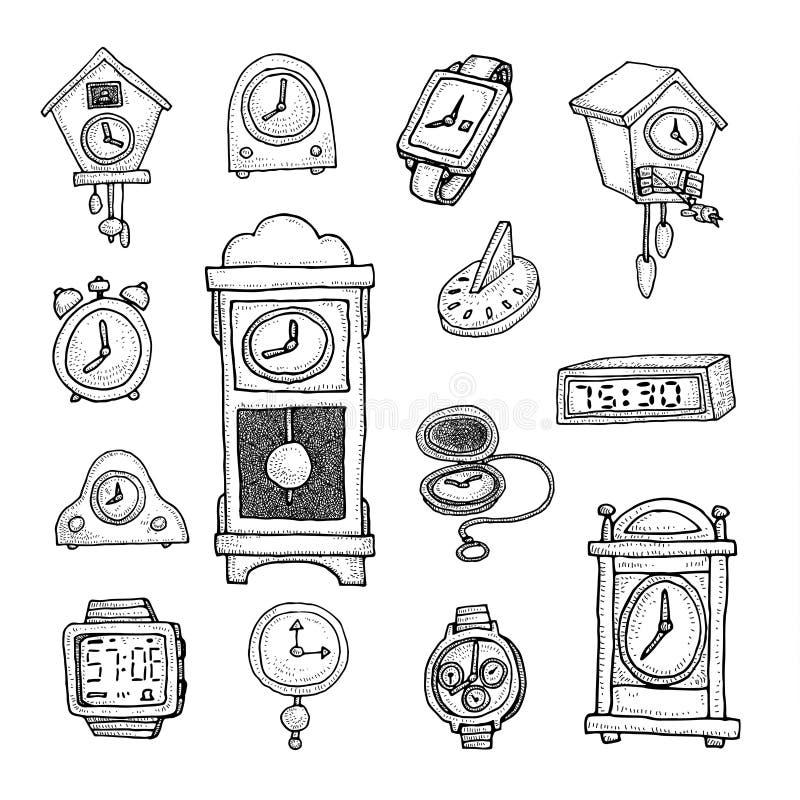 Set zegary i zegarki, ręka rysująca wektorowa ilustracja ilustracja wektor