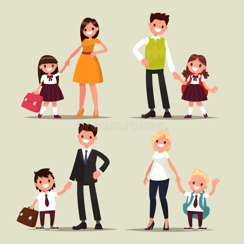 Set Zeichen Eltern und Kinder sind Studenten zusammen B vektor abbildung