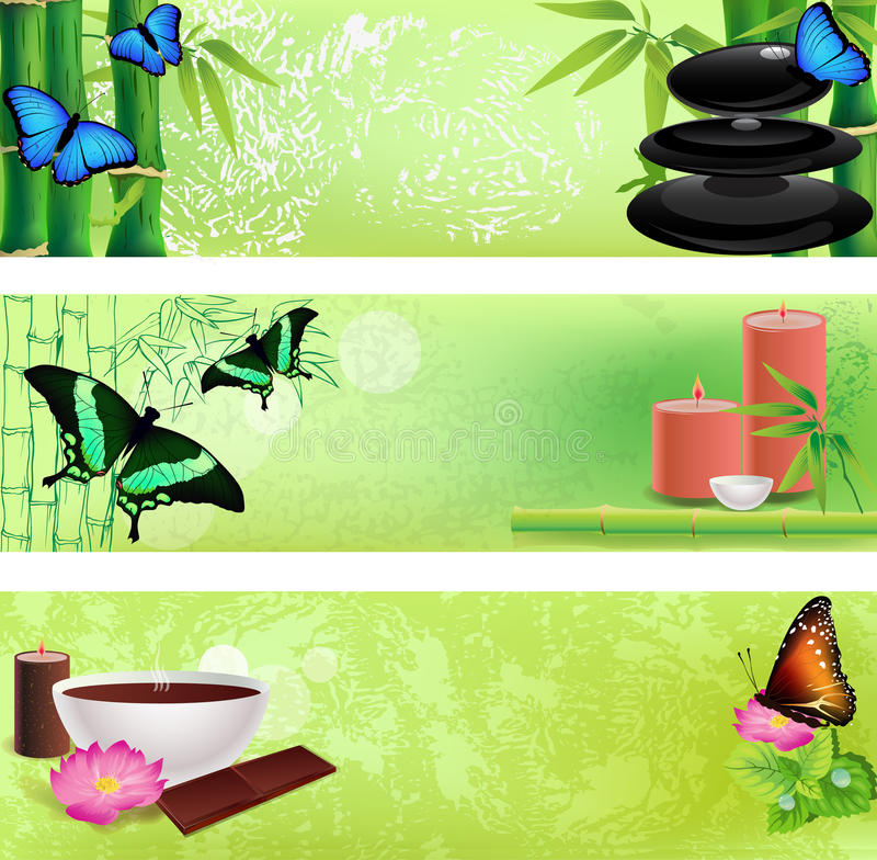 Set of Zen and spa backgrounds royalty free illustration