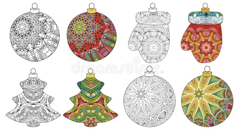 Set of zentangle stylized Christmas decorations. Hand Drawn lace vector illustration. Balls for coloring and painted stock illustration