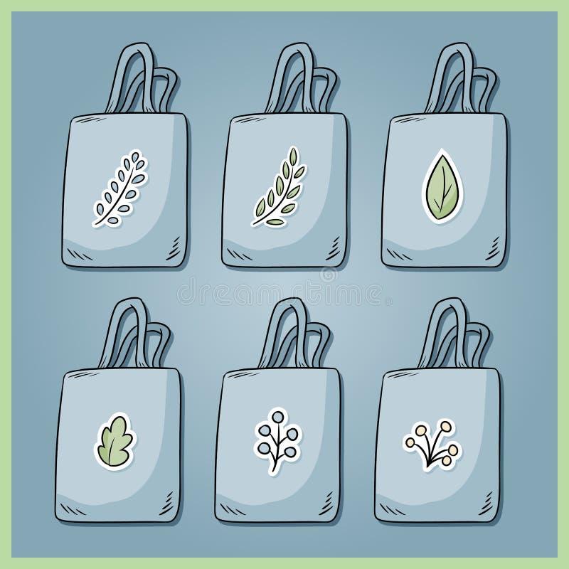 Set zero bawełien jałowe torby Przynosi tw?j sw?j torb? codziennie Ekologiczna i plastikowa bezpłatna kolekcja torby E ilustracja wektor