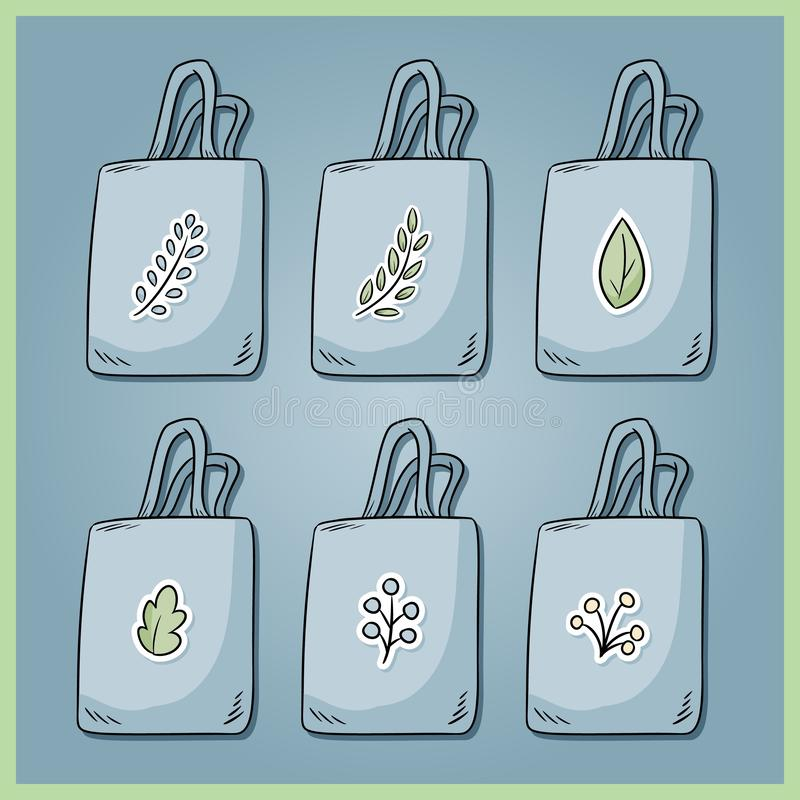 Set of zero waste cotton bags. Bring your own bag every day. Ecological and plastic free collection of bags. Go green living. Set of zero waste cotton bags vector illustration