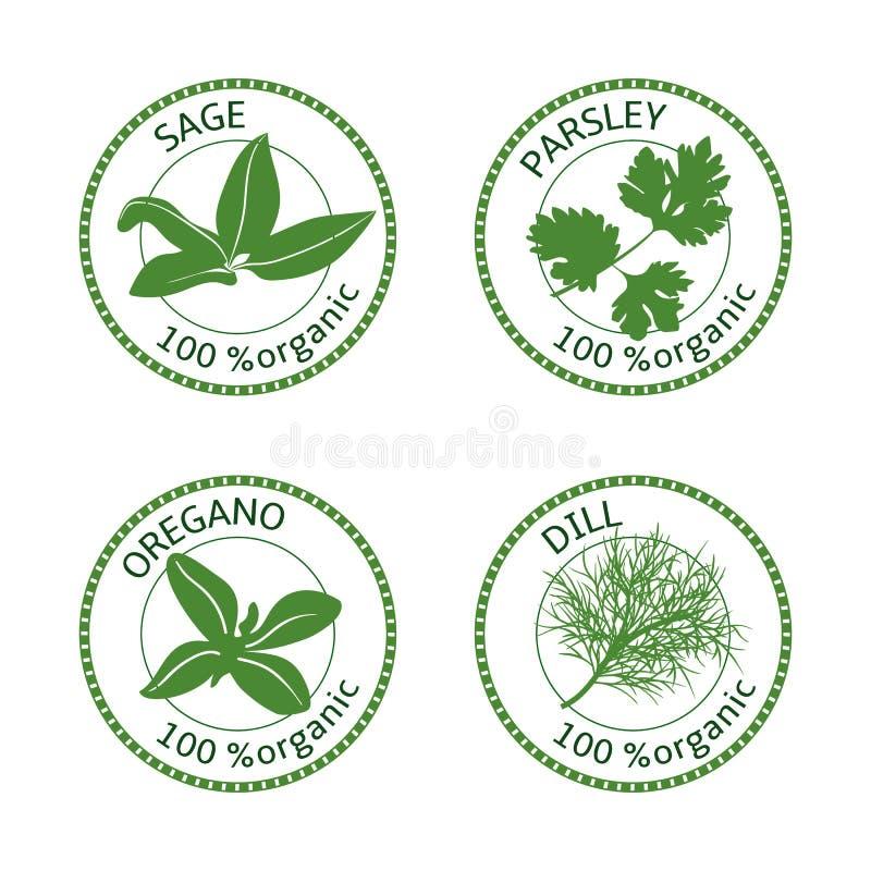 Set ziele etykietki 100 organicznie również zwrócić corel ilustracji wektora ilustracji