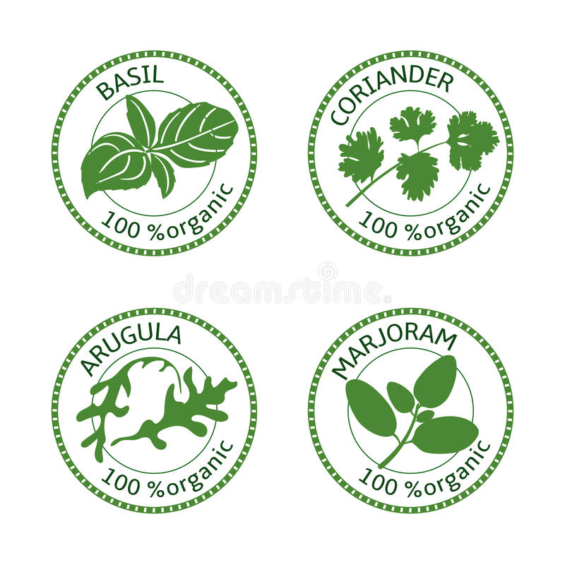 Set ziele etykietki 100 organicznie również zwrócić corel ilustracji wektora ilustracja wektor