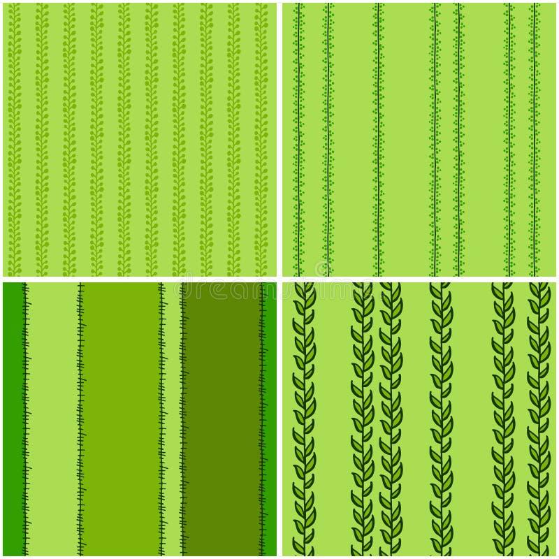 Set zieleni bezszwowi wzory, wektor ilustracji