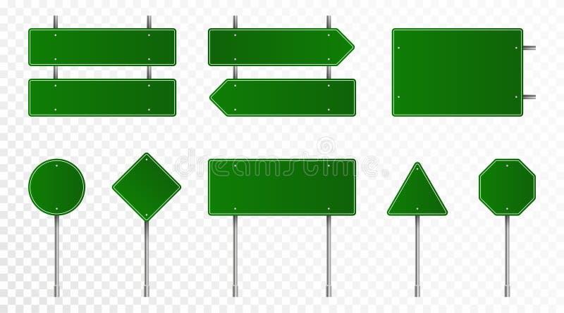 Set zieleni drogowi znaki Puści ruchów drogowych znaki, autostrad deski, kierunkowskaz i signboard, Realistyczni ruchów drogowych zdjęcia royalty free