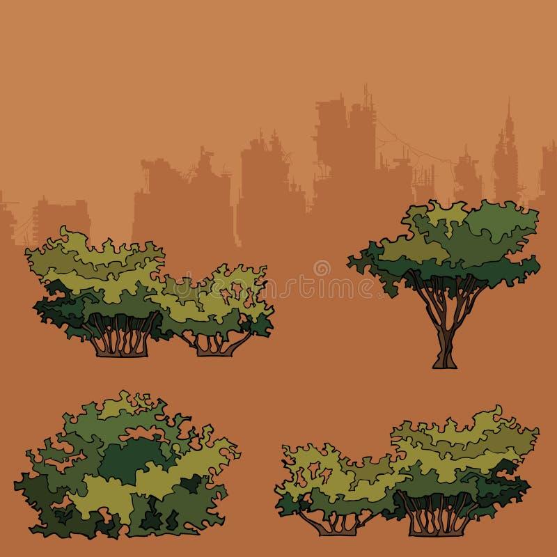 Set zieleni drzewa i krzaki dla parka ilustracja wektor
