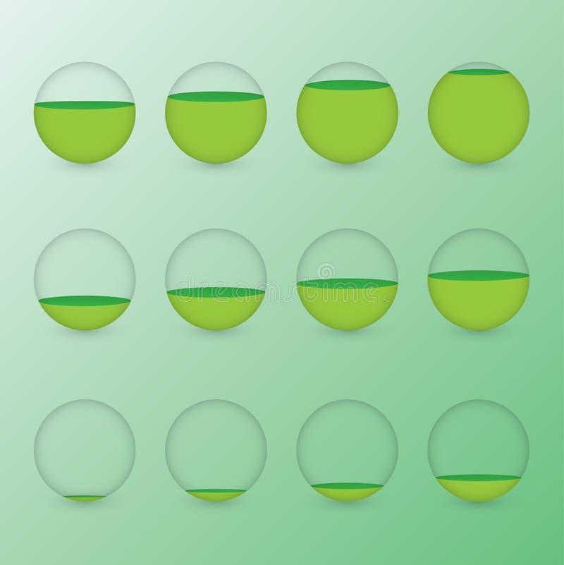 Set zieleni kółkowi akwaria z różnymi poziomami woda pokazywać odsetek wartość dla ewidencyjnej graficznej prezentaci royalty ilustracja
