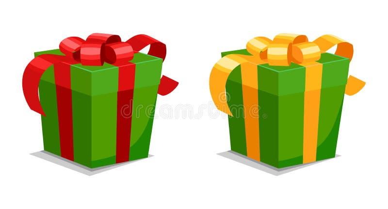 Set zieleni prezenty z czerwonymi i żółtymi faborkami ilustracji