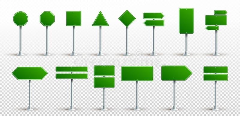 Set Zieleni ruchów drogowych znaki Droga teksta deskowy panel, mockup signage kierunku autostrady miasta kierunkowskazu lokacji u royalty ilustracja