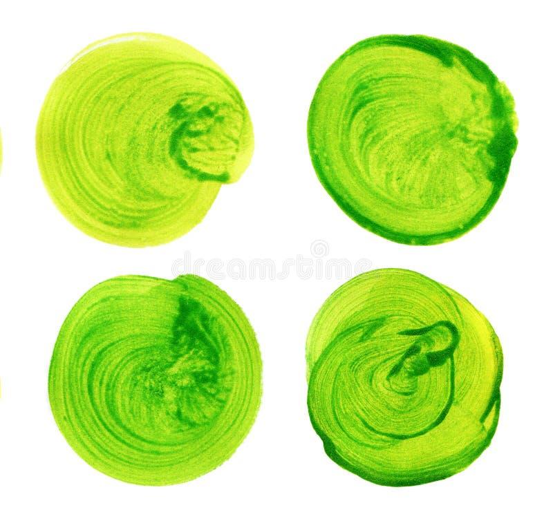 Set zielona akwareli ręka malował okrąg odizolowywającego na bielu Ilustracja dla artystycznego projekta Round plamy, krople ilustracji