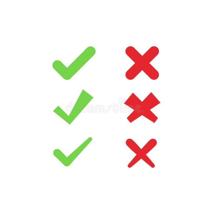 Set zielona czek ocena i czerwieni krzywda podpisujemy zdjęcia royalty free