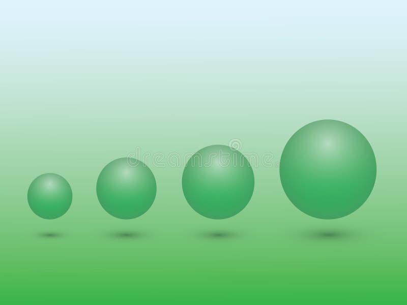 Set zielona sfera od małego duży wielkościowy znaczenie przyrost na zielonym tle ilustracja wektor