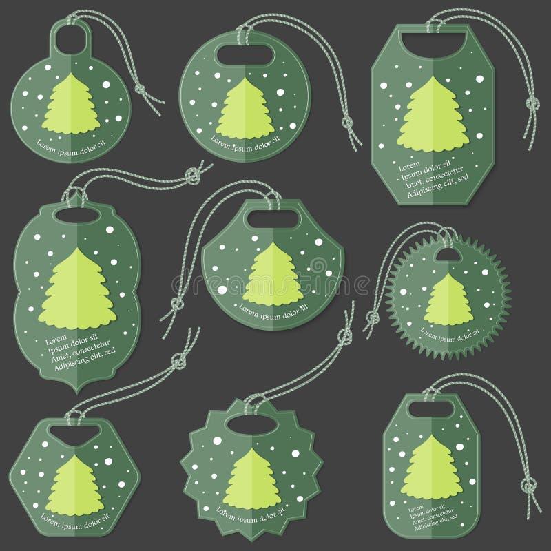 Set Zielone etykietki na Ciemnym tle Robić w mieszkanie stylu z opad śniegu i próbka tekstem Odosobniona grupa zrozumienie etykie royalty ilustracja