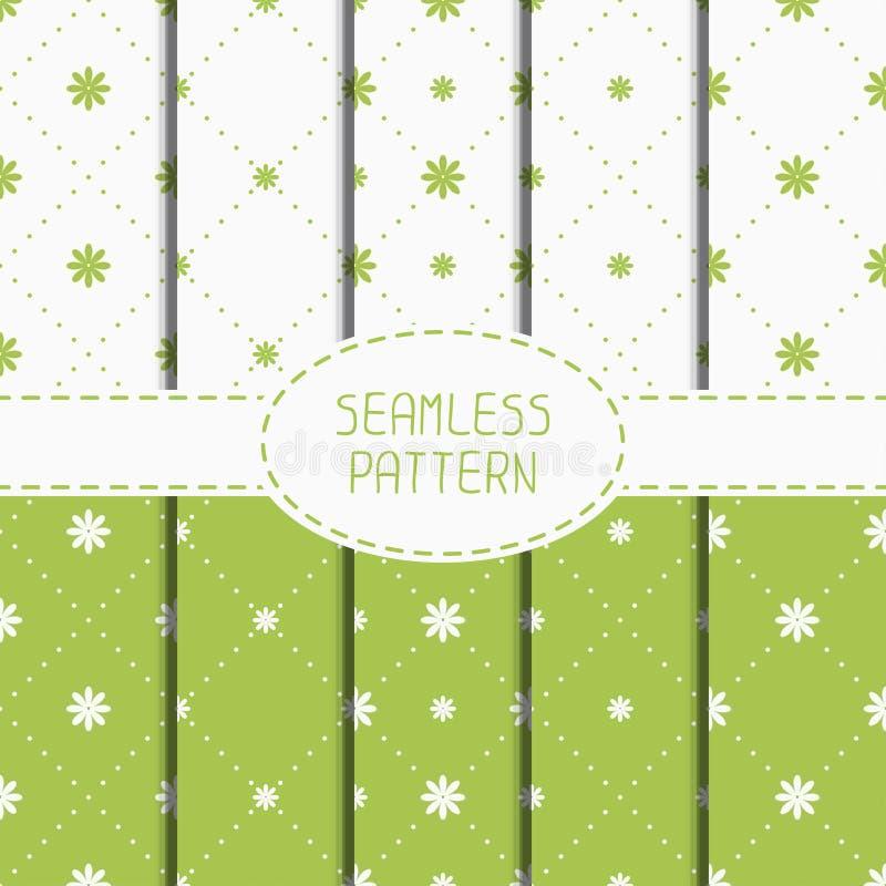 Set zielony geometryczny kwiecisty bezszwowy wzór ilustracja wektor